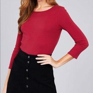 Boat neck rib cotton spandex knit top
